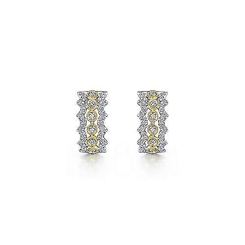 14K Yellow-White Gold 10mm Wide Diamond Huggies