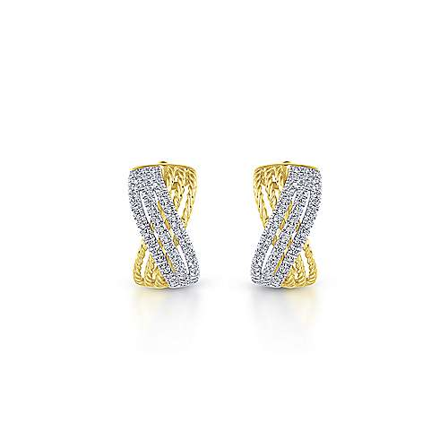 14K Yellow/White Gold 15mm Twisted Criss Cross Diamond Huggies