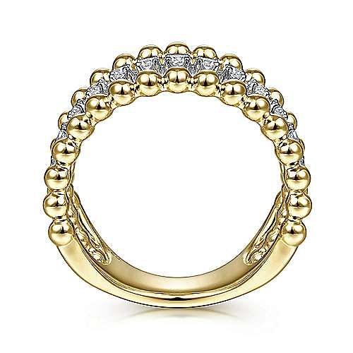14K Yellow/White Gold 3 Row Beaded Diamond Ring