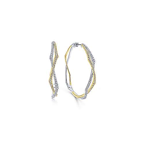 14K Yellow-White Gold 40mm Twisted Rope and Diamond Hoop Earrings