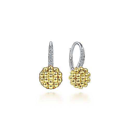 14K Yellow-White Gold Beaded Ball and Diamond Leverback Earrings