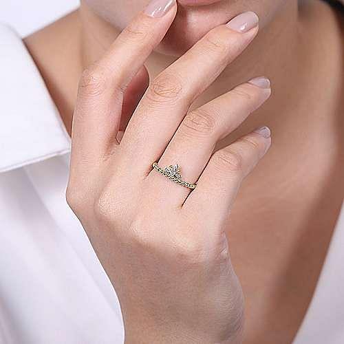 14K Yellow-White Gold Beaded Diamond Crown Ring