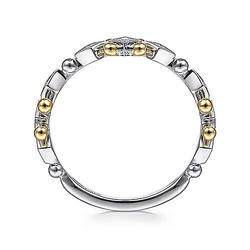 14K Yellow-White Gold Beaded Diamond Stackable Ring