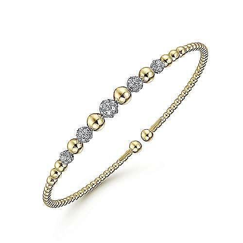 14K Yellow-White Gold Bujukan Bead Cuff Bracelet with Pavé Diamond Stations