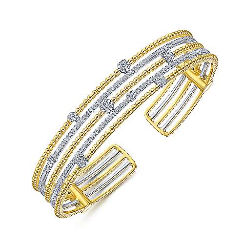 14K Yellow-White Gold Bujukan Bead Diamond Cuff Bracelet