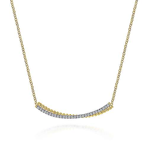 14K Yellow-White Gold Bujukan Bead and Diamond Pavé Curved Bar Necklace