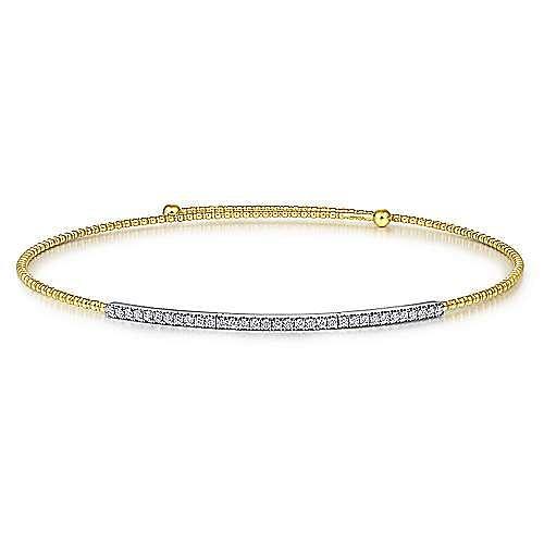14K Yellow-White Gold Bujukan Beaded Choker Necklace with Diamond Pavé
