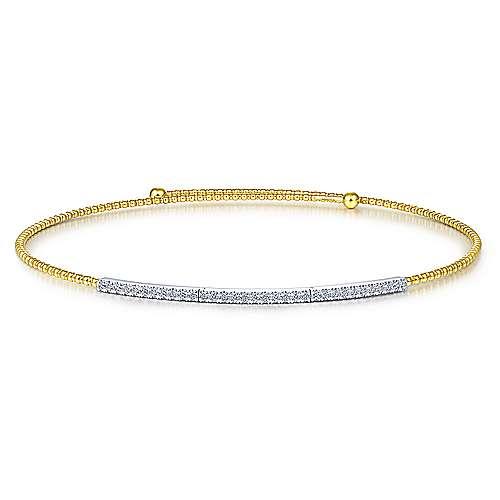 14K Yellow-White Gold Bujukan Beaded Choker Necklace with Diamond Pavé