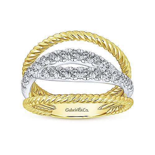 14K Yellow/White Gold Bypass Split Shank Diamond Ring