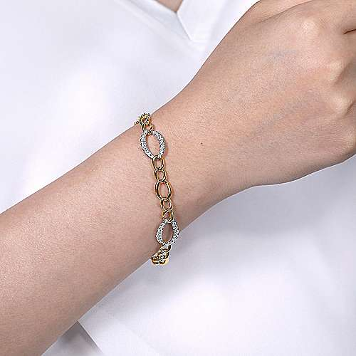 14K Yellow-White Gold Chain Link Bracelet with Diamond Pavé Oval Link Stations