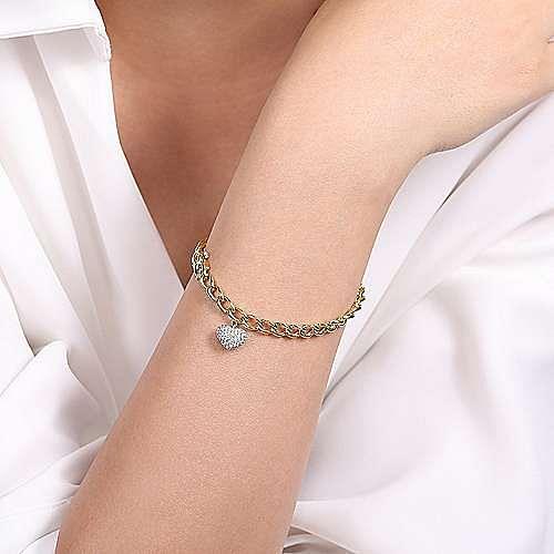 14K Yellow-White Gold Chain Link Bracelet with Pavé Diamond Puff Heart Charm