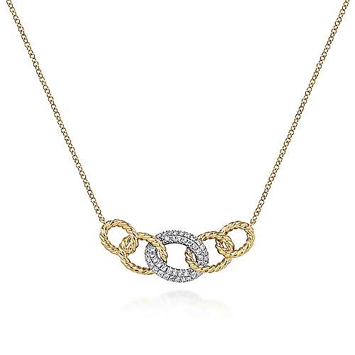 14K Yellow/White Gold Chain Link Diamond Necklace