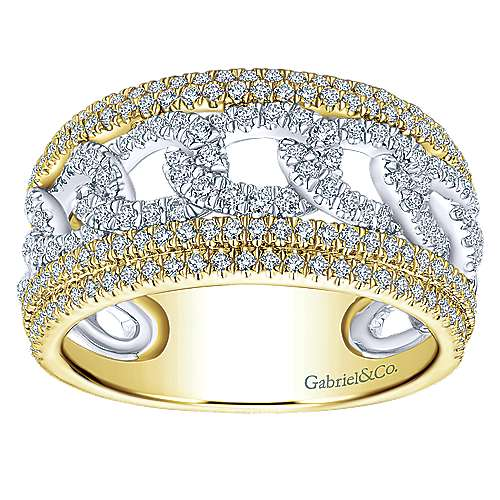 14K Yellow/White Gold Chain Link Wide Band Ring