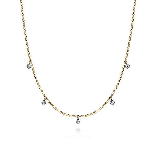 14K Yellow-White Gold Chain Necklace with Bezel Set Diamond Drops