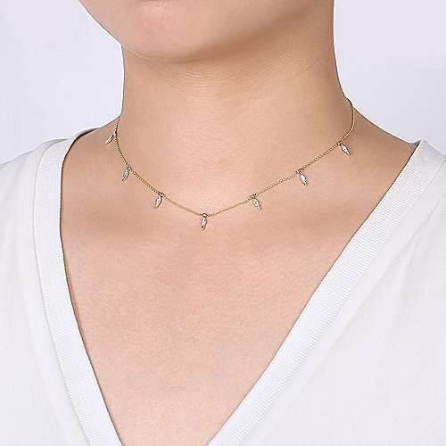 14K Yellow-White Gold Chain Necklace with Diamond Pavé Kite Drops