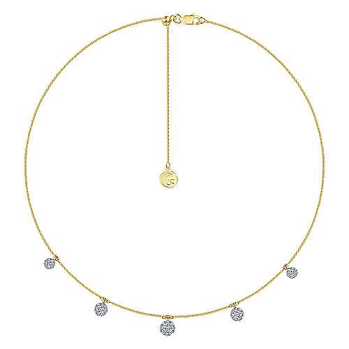 14K Yellow-White Gold Chain Necklace with Pavé Diamond Disc Drops