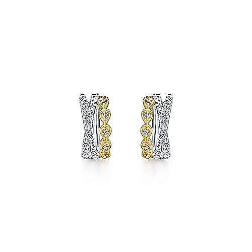14K Yellow-White Gold Criss Cross 10mm Diamond Huggies