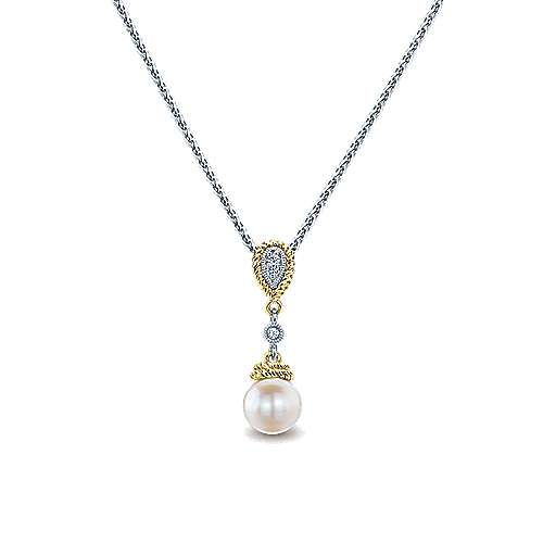 14K Yellow/White Gold Cultured Pearl Necklace
