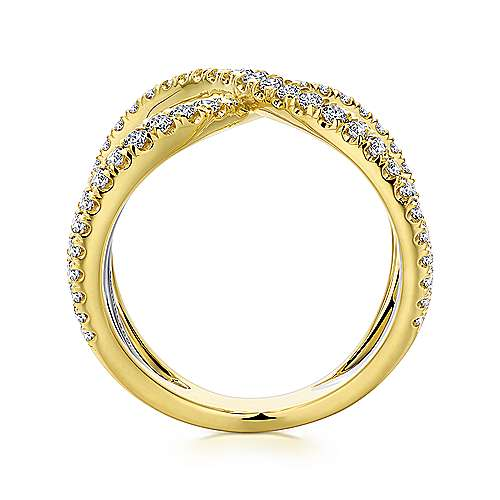 14K Yellow-White Gold Curving Criss Cross Wide Diamond  Ring