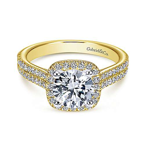 Gabriel - 14K Yellow-White Gold Cushion Halo Round Diamond Engagement Ring