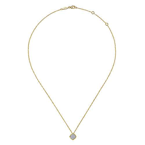 14K Yellow-White Gold Cushion Shaped Pavé Diamond Cluster Pendant Necklace