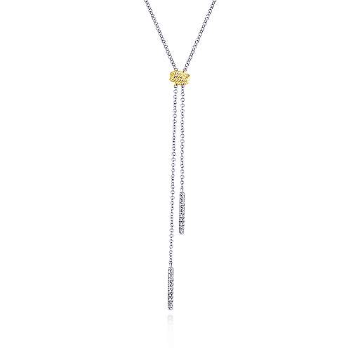 14K Yellow-White Gold Diamond Bar Y Knot Necklace