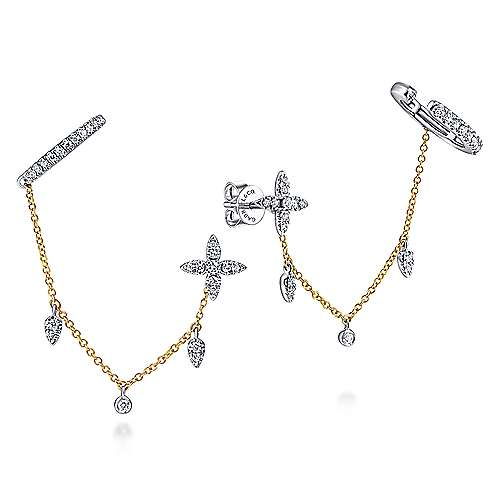 14K Yellow-White Gold Diamond Bar and Quatrefoil Chain Earrings with Drops