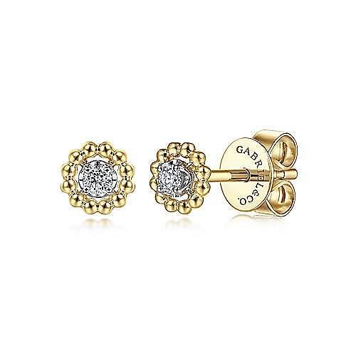 14K Yellow-White Gold Diamond Pavé Center and Bujukan Frame Stud Earrings