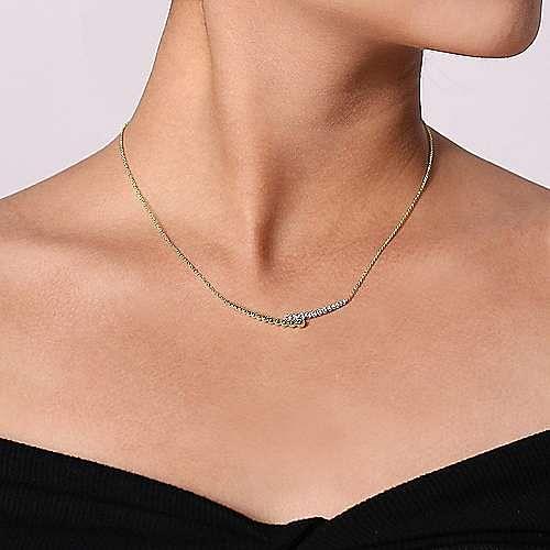 14K Yellow-White Gold Diamond Pavé and Bujukan Bead Curved Bar Necklace