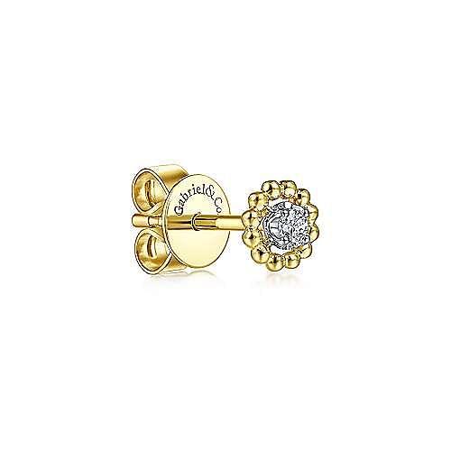 14K Yellow-White Gold Diamond and Bujukan Frame Single Stud Earring