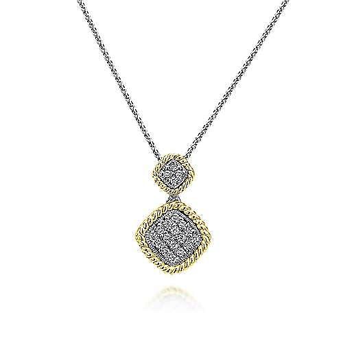 14K Yellow-White Gold Double Diamond Pavé Pendant Necklace