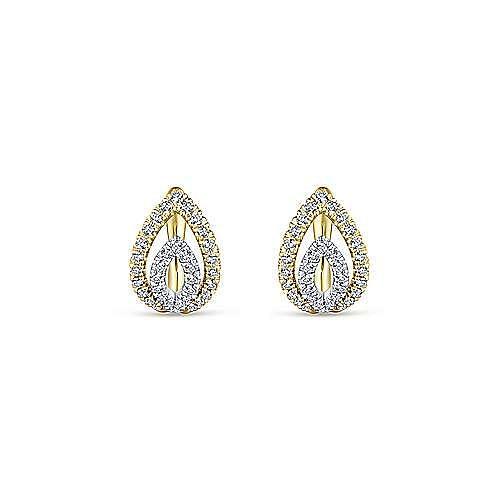 14K Yellow-White Gold Double Marquise 10mm Diamond Huggies