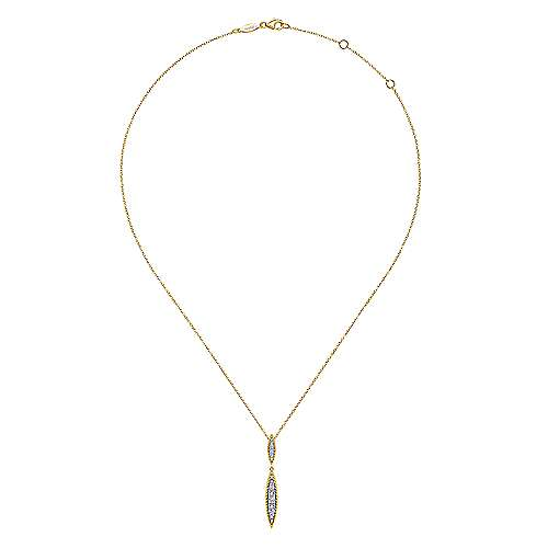 14K Yellow-White Gold Double Marquise Shape Diamond Pendant Necklace