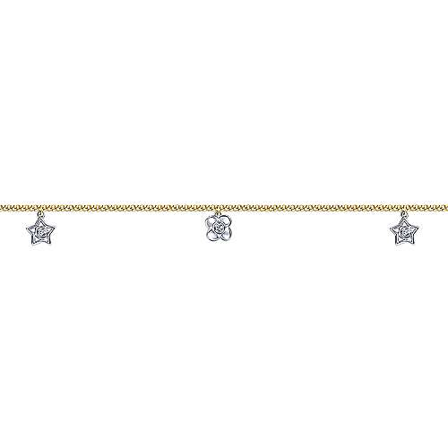 14K Yellow/White Gold Fashion Anklet Bracelet