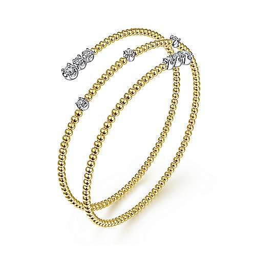 14K Yellow-White Gold Fashion Bangle