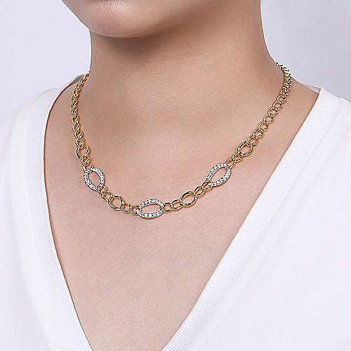 14K Yellow-White Gold Fashion Necklace