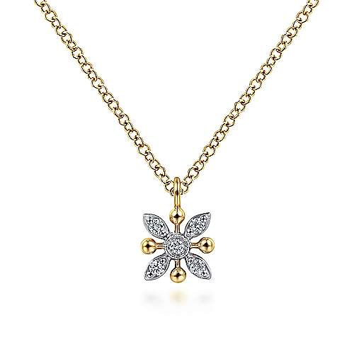 14K Yellow-White Gold Floral Diamond Pendant Necklace with Bujukan Beads