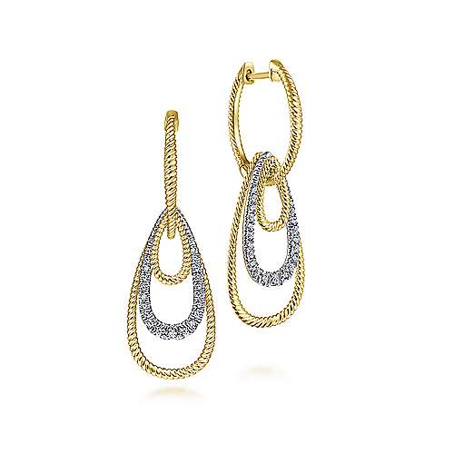 14K Yellow-White Gold Huggie Earrings With Graduating Teardrops