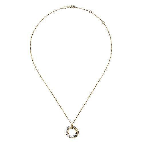 14K Yellow-White Gold Interlocking Circles Pendant Necklace with Diamond Pavé