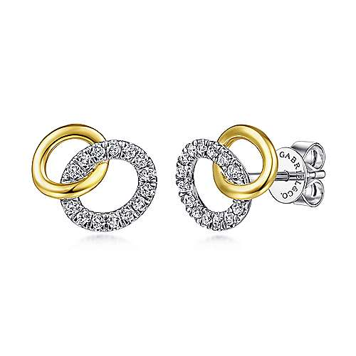 14K Yellow-White Gold Interlocking Links Diamond Stud Earrings