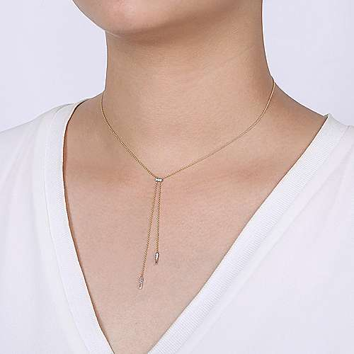14K Yellow-White Gold Lariat Choker Necklace with Diamond Bar and Spikes