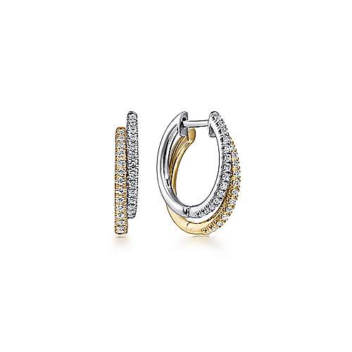 14K Yellow-White Gold Layered 15mm Diamond Huggies