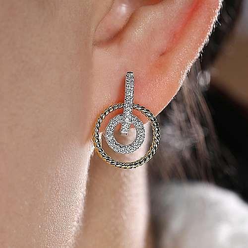 14K Yellow-White Gold Layered Loop 20mm Diamond Huggie Drop Earrings