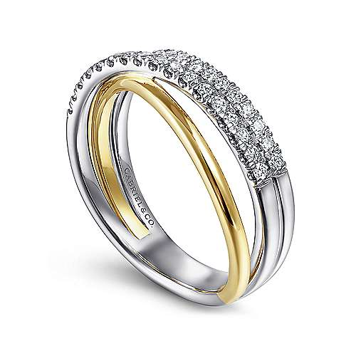 14K Yellow/White Gold Layered Three Strand Diamond Ring