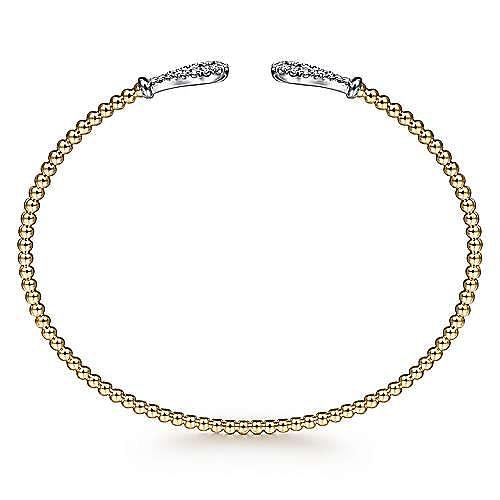 14K Yellow-White Gold Open Bujukan Bangle with Diamond Teardrops