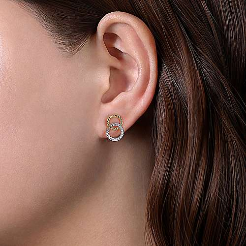 14K Yellow-White Gold Open Circle Twisted Rope and Diamond Stud Earrings