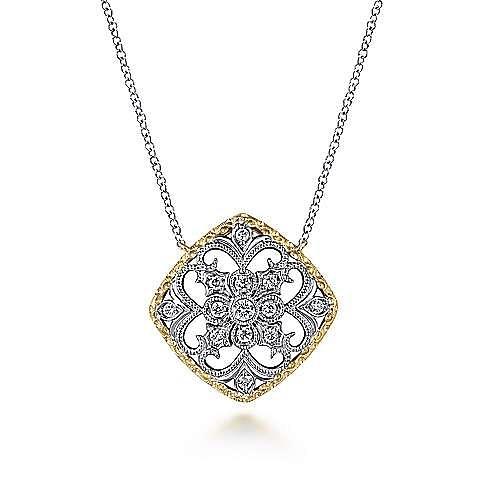 14K Yellow-White Gold Open Filigree Diamond Pendant Necklace