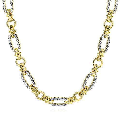14K Yellow-White Gold Oval Chain Twisted Rope Link Necklace with Diamond Pavé