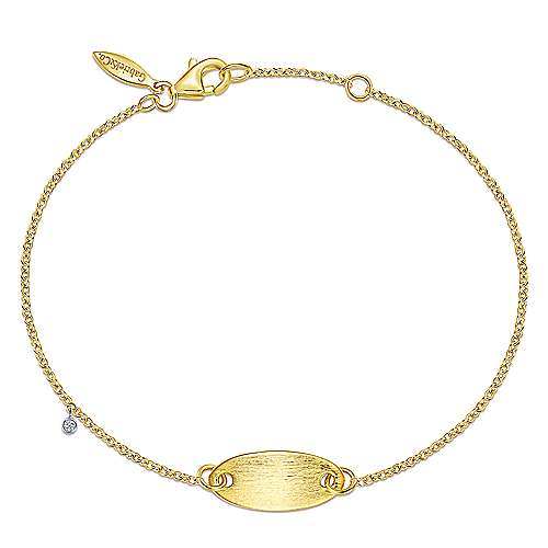 14K Yellow-White Gold Oval Nameplate Bracelet with Bezel Set Diamond Charm