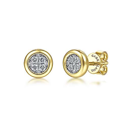 14K Yellow-White Gold Round Bezel Set Diamond Pavé Stud Earrings